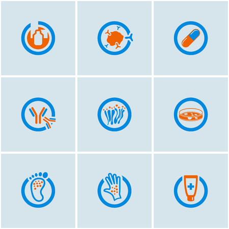 snot: Blue-Orange vector set of medical web icons