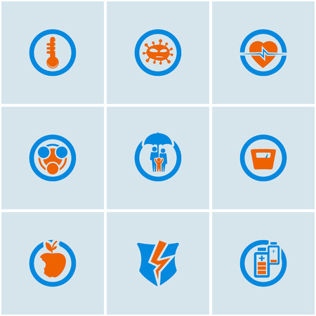low scale: Blue-Orange vector set of medical web icons