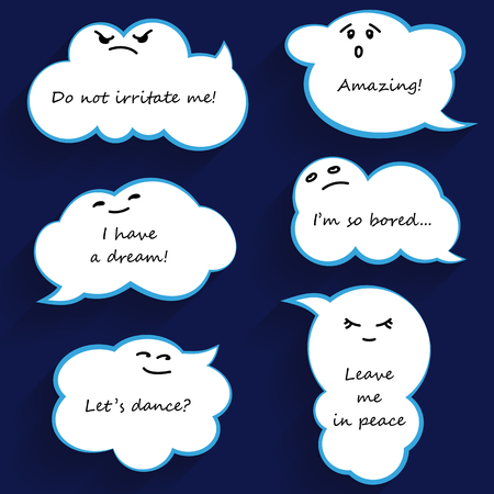 phlegmatic: Cloud shape funny cartoon speech bubbles with emotions. Vector illustration