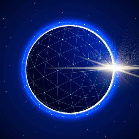 blue sphere: Abstract blue digital polygonal 3d sphere on starfield space background with eclipse. illustration