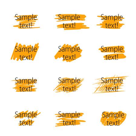 marker: Conjunto de trazos de rotulador marcador para la acentuación de texto