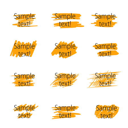 text marker: Set of highlighter marker strokes for text accentuation