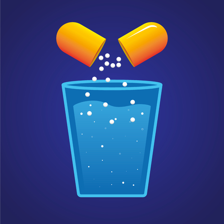dissolution: The drug content of the orange pill dissolving in a glass of water.  illustration Illustration