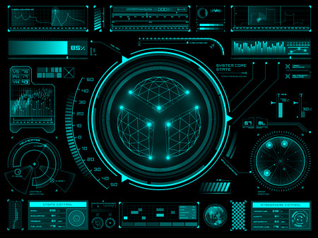 Set of futuristic user interface elements for dashboard or control panel Ilustração