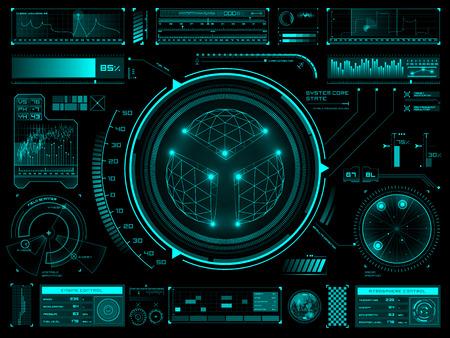 Zestaw futurystycznych elementów interfejsu użytkownika na desce rozdzielczej lub panelu kontrolnym