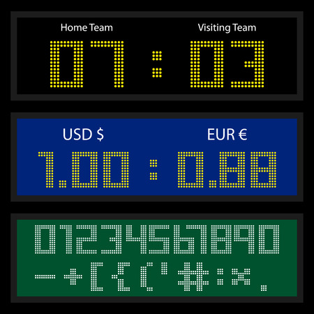 led display: Digital LED display board for currency exchange rates or sport score counting. Set of dotted numbers and special symbols. Vector illustration Illustration