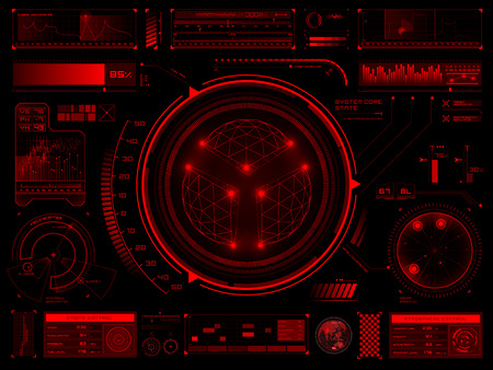 control panel: Set of futuristic user interface elements for dashboard or control panel. Raster version Stock Photo