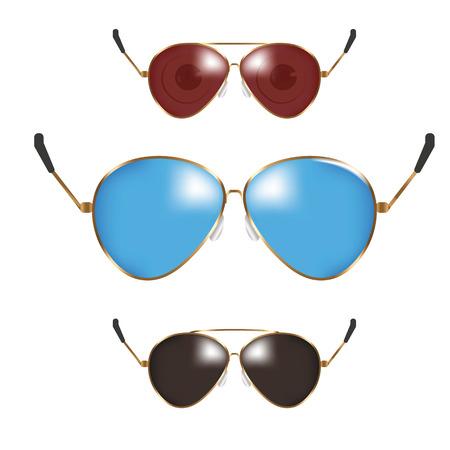fashion collection: Classic sunglasses set. Summer eyeglasses. Retro fashion collection. Summer vacation item. Semitransparent sunglasses for tropical trip. illustration. Illustration