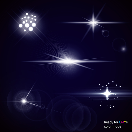 modes: Set of transparent stars and sparkles elements ready for any background with screen or add blending modes. illustration, CMYK color mode Illustration