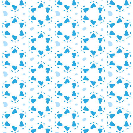 corazones azules: Blue hearts in a six-pointed star shape. Seamless pattern background. Pattern swatch included