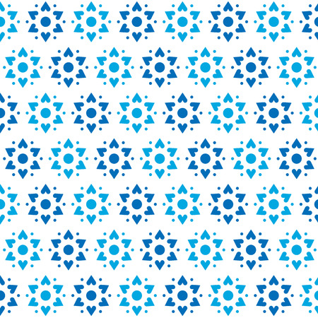 Blue hearts in a six-pointed star shape. Seamless pattern background. Pattern swatch included