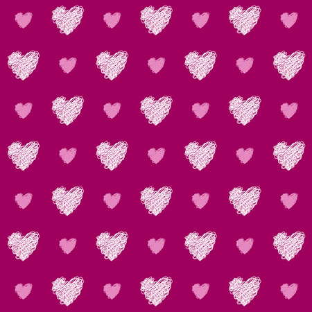 pink hearts seamless pattern background. Pattern swatch included. Illustration