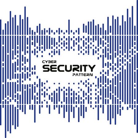 Résumé irrégulière vecteur lignes pointillées arrondies motif de transition tramée. style de la cyber-sécurité numérique