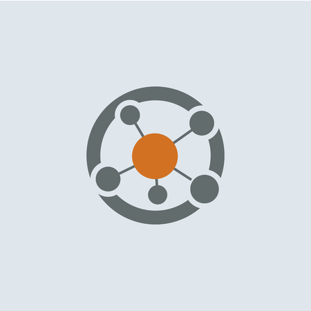 Gray-orange network connection or molecule structure round vector icon
