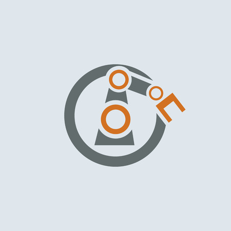 enginery: Gray-orange automation round vector icon with stylized robotic hand
