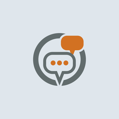 chatter: Gray-orange conversation and communication chat bubbles round vector icon