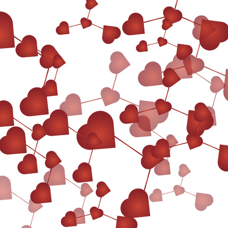 Abstract molecular grid background made of small connected red heart shapes. Vector illustration