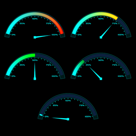 dial: Power or Speed Meter. Dashboard gauge analog sensor in different state phases. illustration