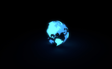 orbital: Abstract 3d model of blue glowing earth globe on black background. Front American continents
