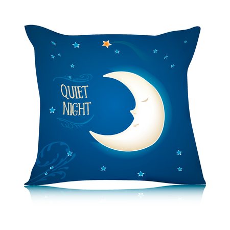 pillows: Mock up of square pillow with cartoon sleeping moon.