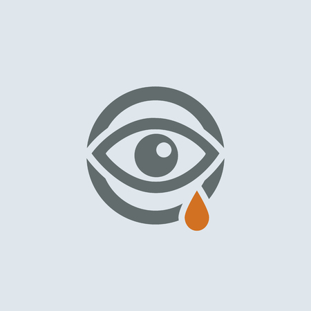 looking at view: Gray-orange running eye with a tear round web icon