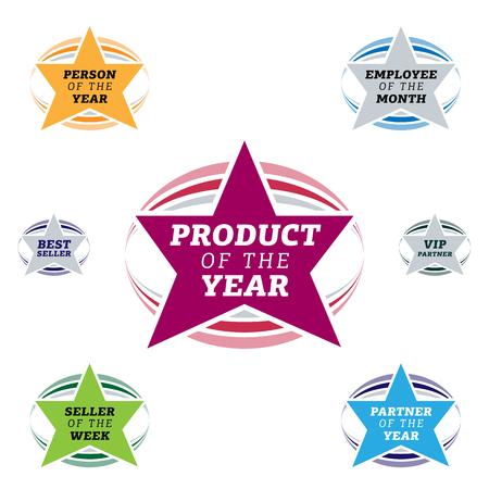 most popular: Bestseller star label most popular sign popularity label or sticker for best seller. Illustration