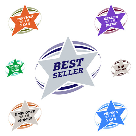 popularity: Bestseller star label most popular sign popularity label or sticker.