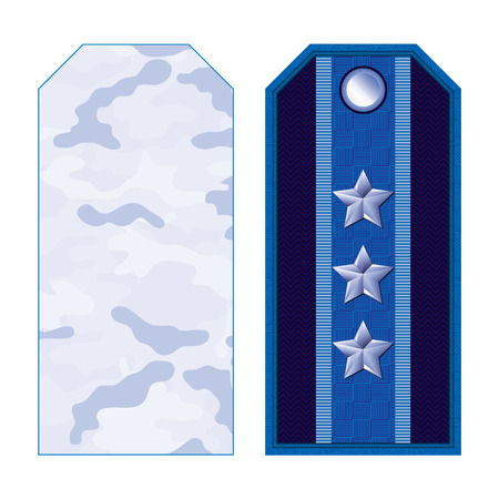major force: Blue military shoulder straps with camouflage and three stars Illustration