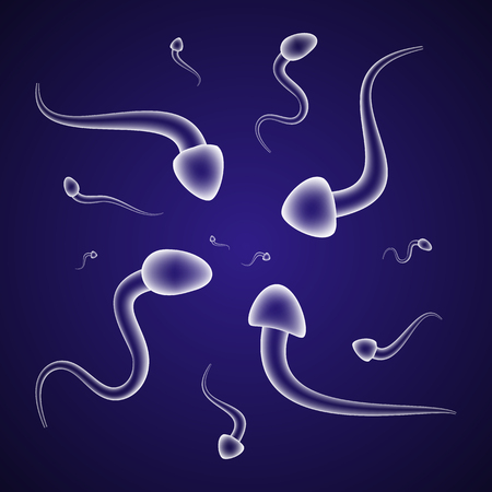 semen: Semitransparent male spermatozoids floating on blue background Illustration