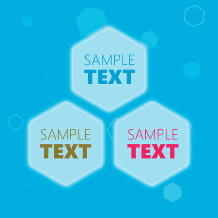 hexagonal shaped: Blue glowing futuristic hexagonal honeycomb shaped text placeholder frames for presentation Illustration