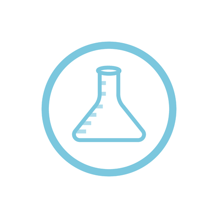 Empty chemical flask with graduation blue round icon