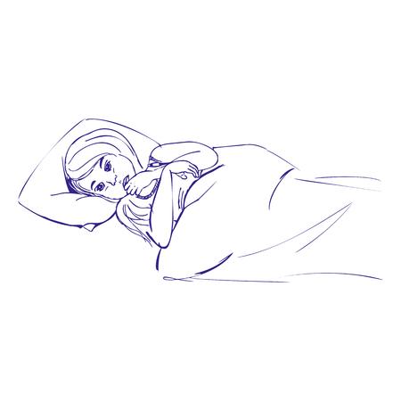 Ziek kindmeisje liggend in bed met een thermometer onder haar arm en voelt zo slecht met koorts, vector hand getekende illustratie.