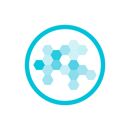 vitamine: Nanotechnology cell structure hi-tech blue round vector icon Illustration