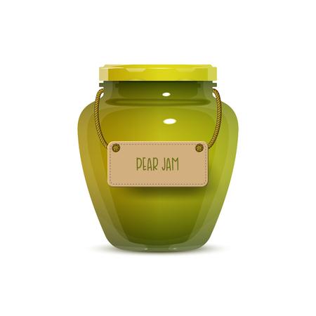 gelatina: Tarro de vidrio de mermelada de pera con etiqueta aislada sobre fondo blanco. Ilustración vectorial realista Vectores