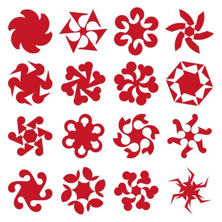 sacral: Set of abstract geometric red circular shapes. Symmetric center shapes. Ornament design elements. Vector illustration.