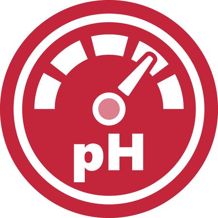 Mesure de la mesure du pH icône ronde rouge Banque d'images - 86025257