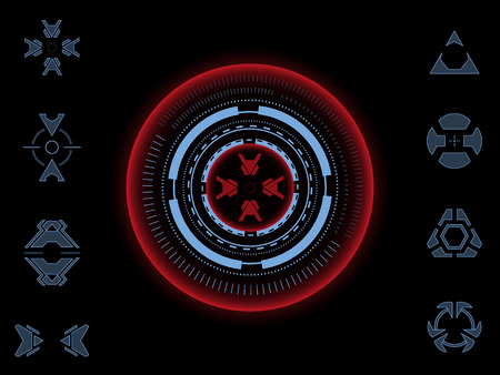 Collection of futuristic aiming crosshairs for games and photo or video footage overlays. Illustration
