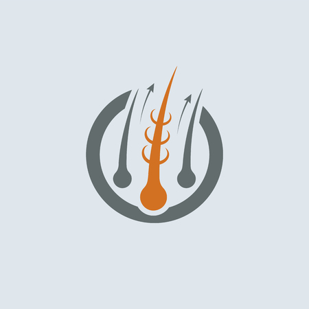 Strengthening of Hair Gray-Orange Round Icon. Improve hair growth illustration