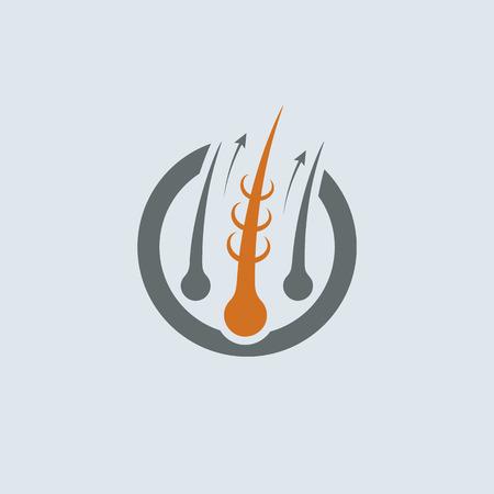 Strengthening of Hair Gray-Orange Vector Round Icon. Improve hair growth illustration Illustration