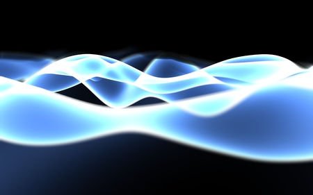Smooth glowing blue plasma wave abstract background with depth of field. 3D illustration