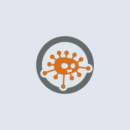 灰色-オレンジ色の外来ウイルス分子丸いウェブアイコン