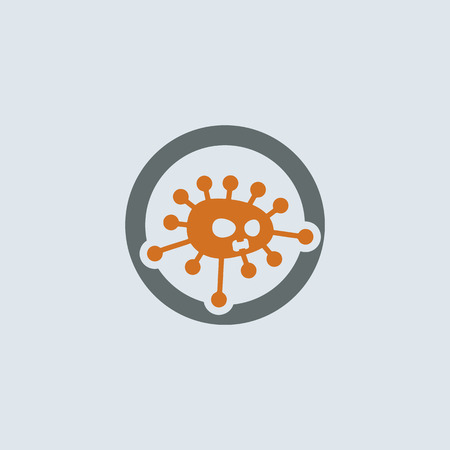 회색 - 오렌지 외국 바이러스 분자 라운드 웹 아이콘