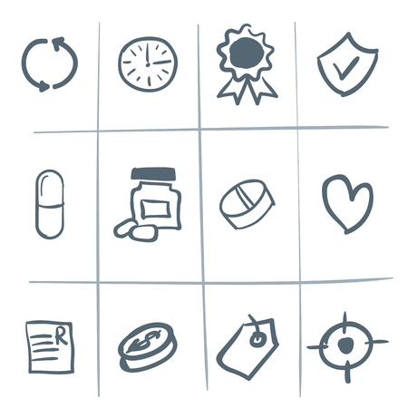 Hand drawn sketched vector medical icons or doodles Illustration