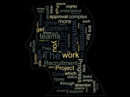 Silhouette of a head with words on a business topic inside.