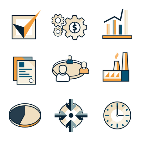 Set of flat vector icons of business concepts in blue and orange colors