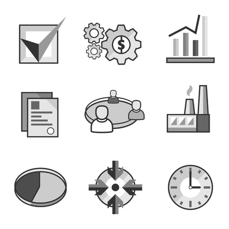 Set of flat vector icons of business concepts in grayscale
