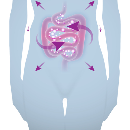 Abstract medical vector illustration of woman silhouette with irritable bowel syndrome in a light blue color