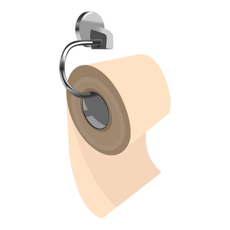 Roll of yellow toilet paper on metal paper holder. Three quarters view. Clipart vector illustration Illustration