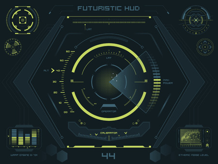 Set of futuristic user interface elements for dashboard or control panel Çizim