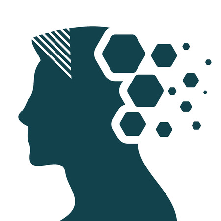 Artificial intelligence head silhouette with flowing minds made of hexagonal particles. Illustration